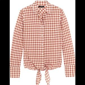 J. Crew Red Gingham Tie Front Top Size 8